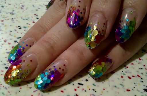 Sparkling Colorful Design Birthday Nails