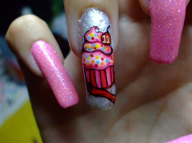Sparkling Ice Cream Con And Full paint Birthday Nail Art