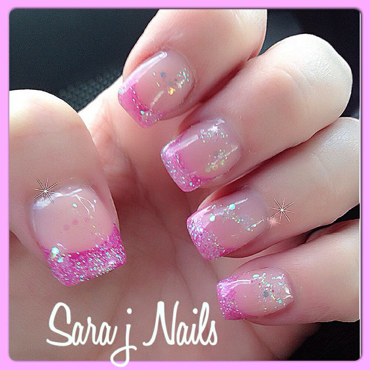 Sparkling Pink Tip Pink Acrylic Nail Design