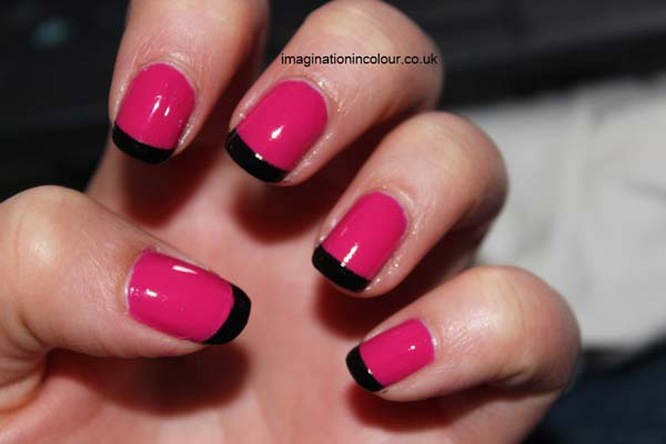 Special Black French Tip Nails With Pink Nail