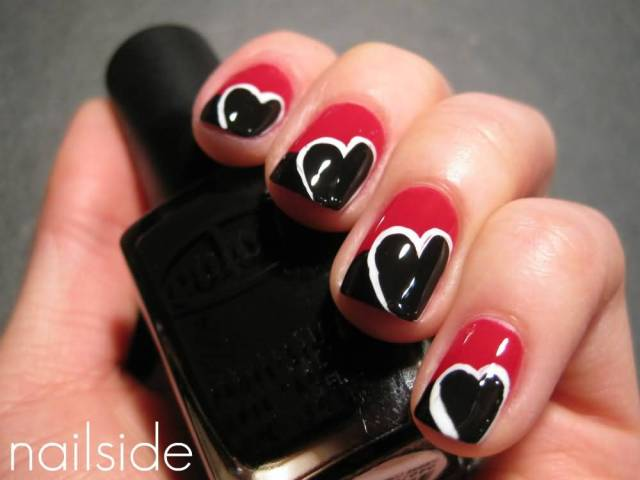 Special Red And Black Nails With Heart Shape Design