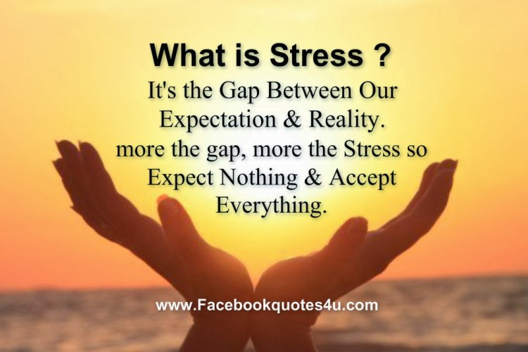 Stress Quotes what is stress it's the gap between our expectation & reality....