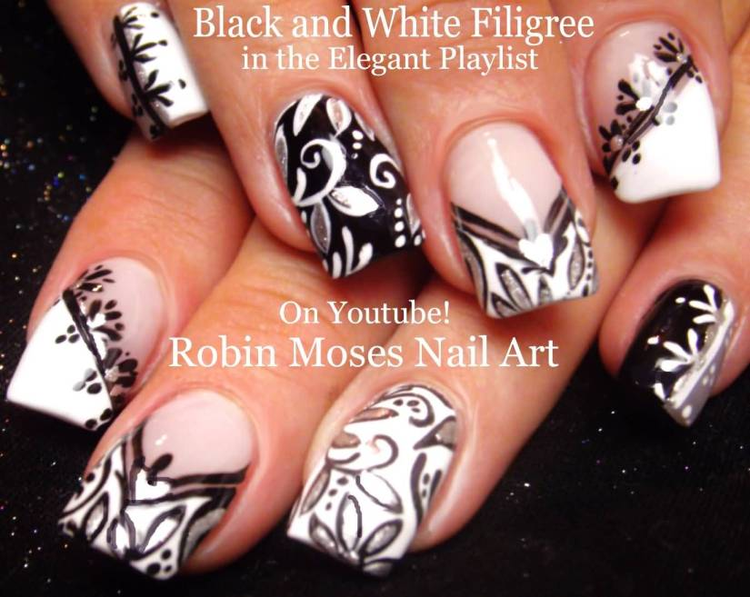 Stunning Flower Design With Natural Nails Black And White Nail Art