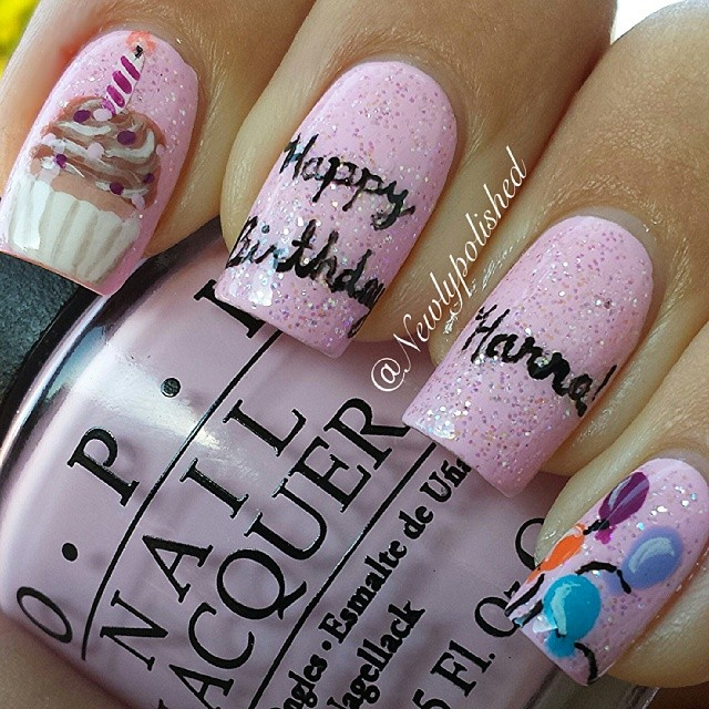Stunning Pink Color Birthday Nail Art