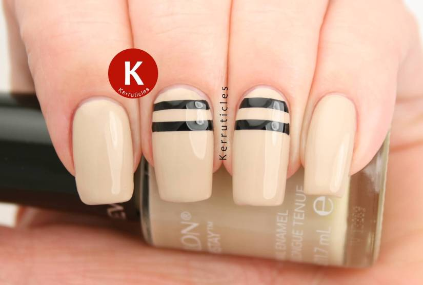 Stunning Black And Beige Nail Art With 2 Lines Design