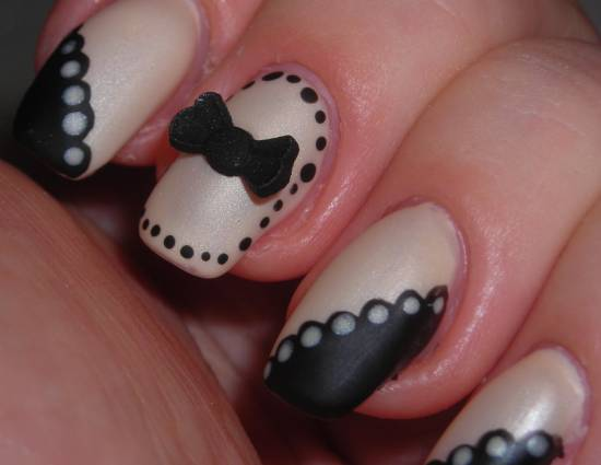 Stunning Black And Beige Nail Art With 3D Bow