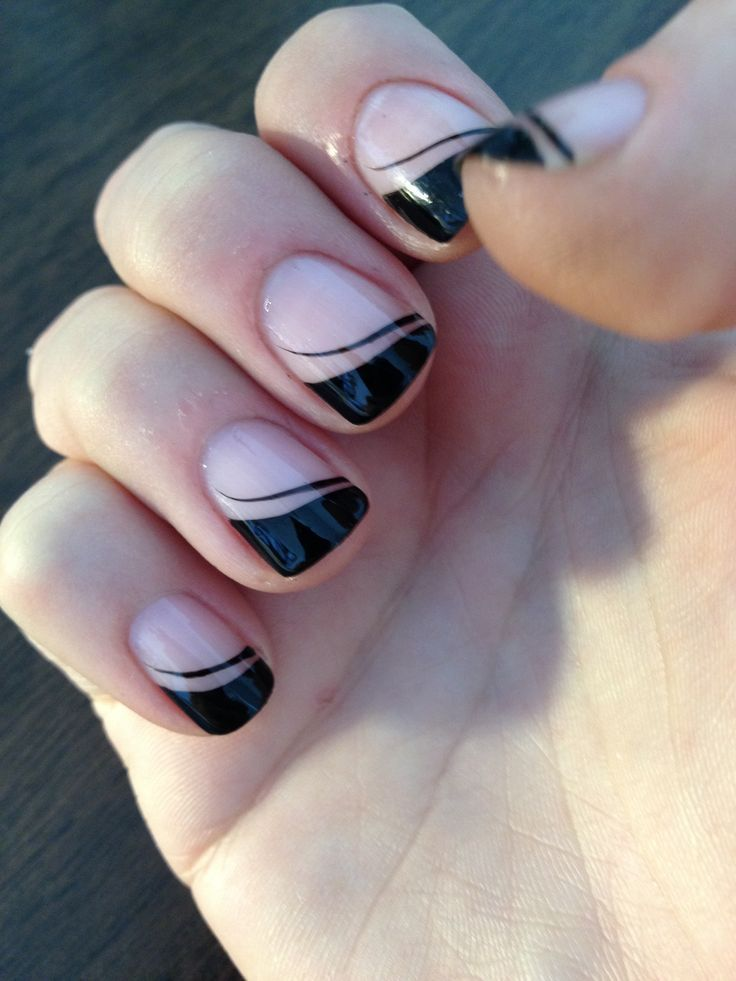 Stunning Black French Tip Nails With Naked Nails