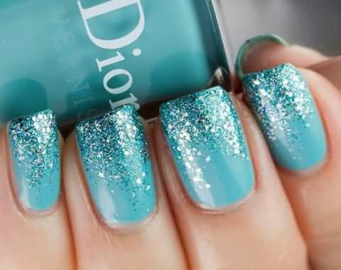 Stunning Blue Nails With Sparkling Ink