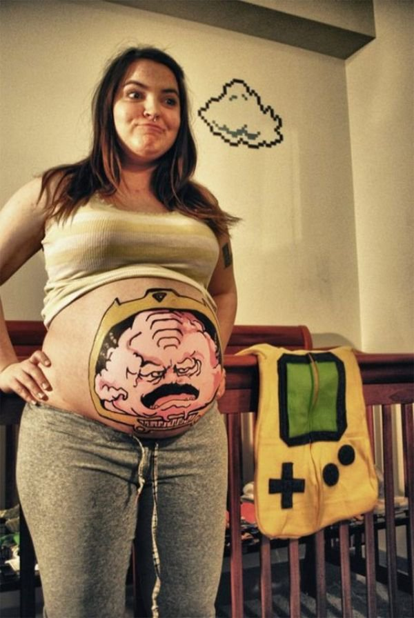 Stunning Funny Pregnant Belly Button Tattoo For Girls