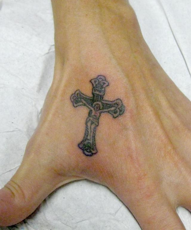 Stunning Hand Tattoo Design Of Jesus Cross For Boys