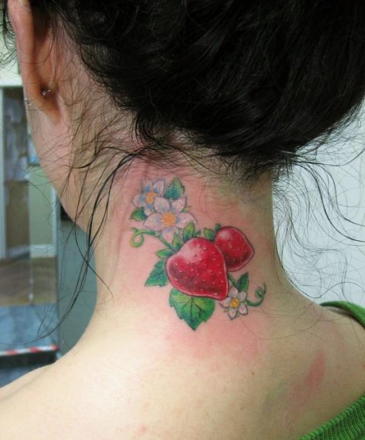 Stunning Strawberry Tattoo For Lovely Neck For Girls