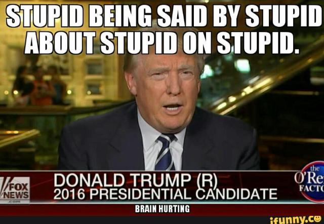 Stupid Being Said By Stupid About Stupid On Stupid Photo Donald Trump Memes
