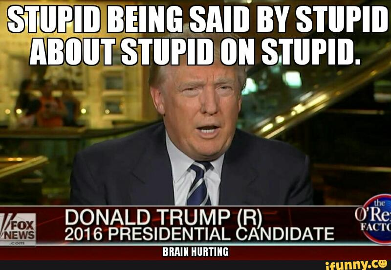 Stupid Being Said By Stupid About Stupid On Stupid Photo Donald Trump Memes