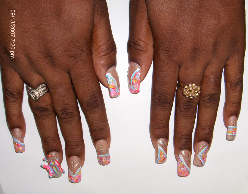 Superb 3D Butterflies Nail Art With Ligh Pink Color And Blue Color