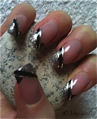 Superb Black French Tip Nails With Side Silver Lining