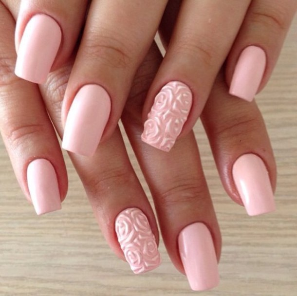 Superb Flower Design With Pink Color 3D Rose Flower Nail Art 3D Rose  Nail Art