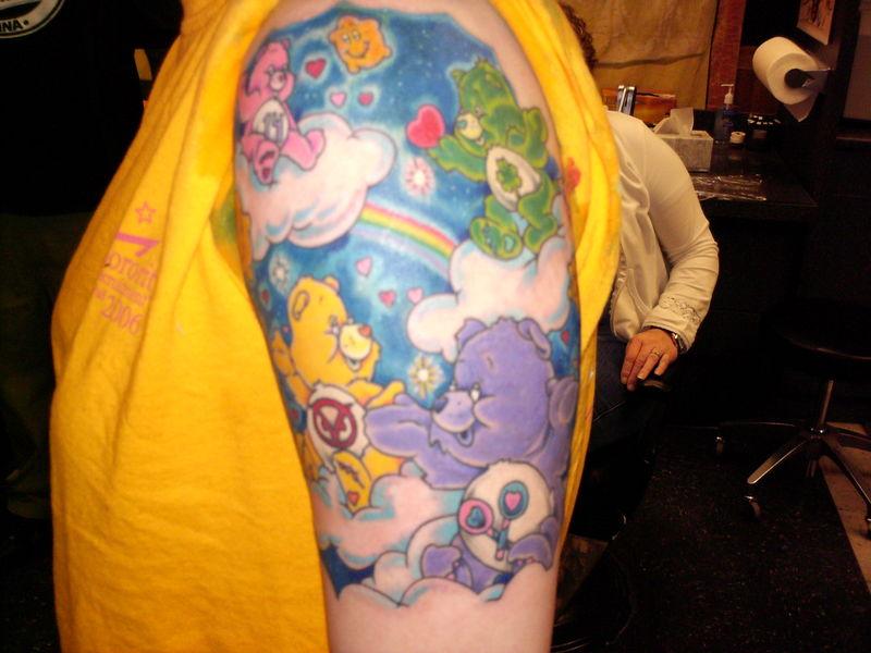 Superb Half Sleeve Teddy Bears Tattoo Design For Girls