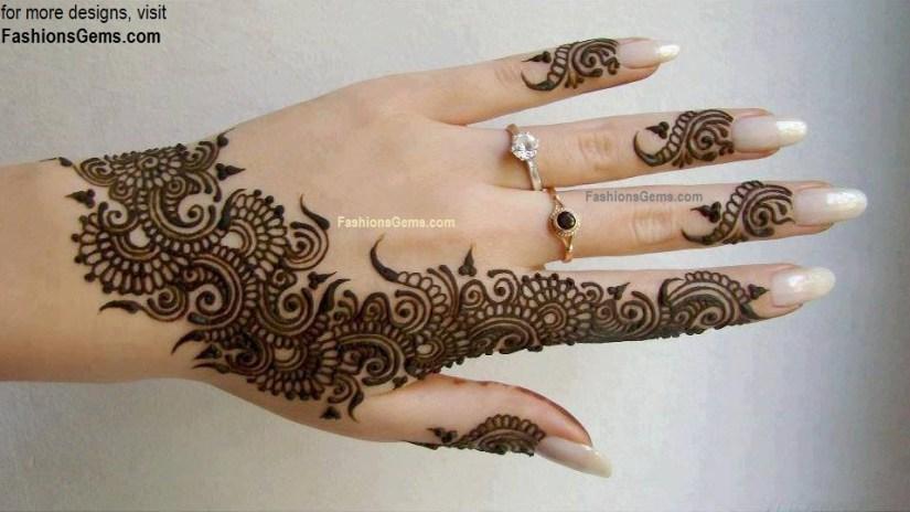 Superb Henna Hand Tattoo Design For Girls
