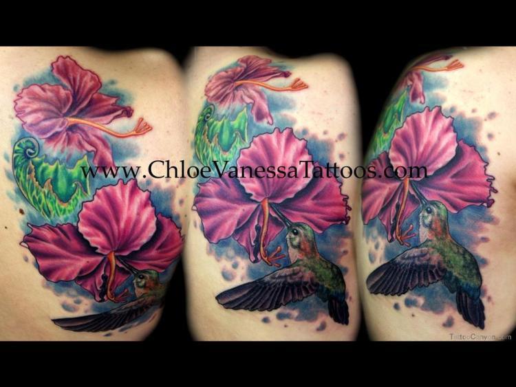 Superb Hibiscus Tattoo Design For Girls