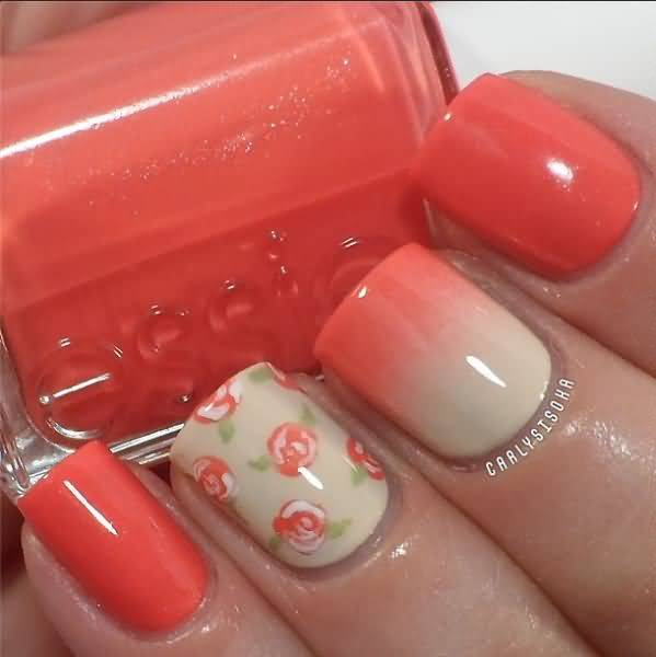 Superb Orange Nail Paint Accent Nail Art