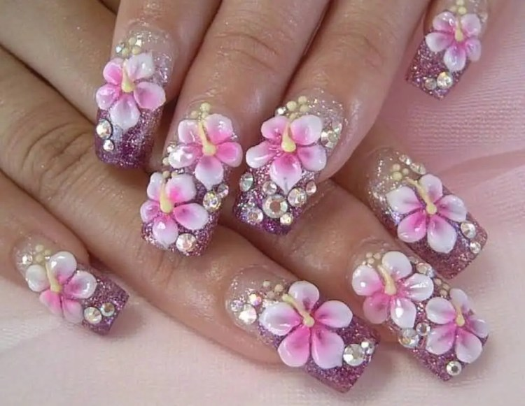 Superb Pink Color And Diamond 3D Rose Flower Nail Art