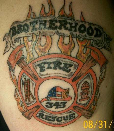 Sweet Brotherhood Firefighter Tattoo On Skin For Boys