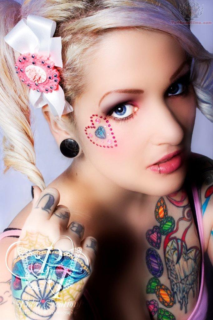 Sweet Eyes n Heart Diamond Tattoo On Face For Girls