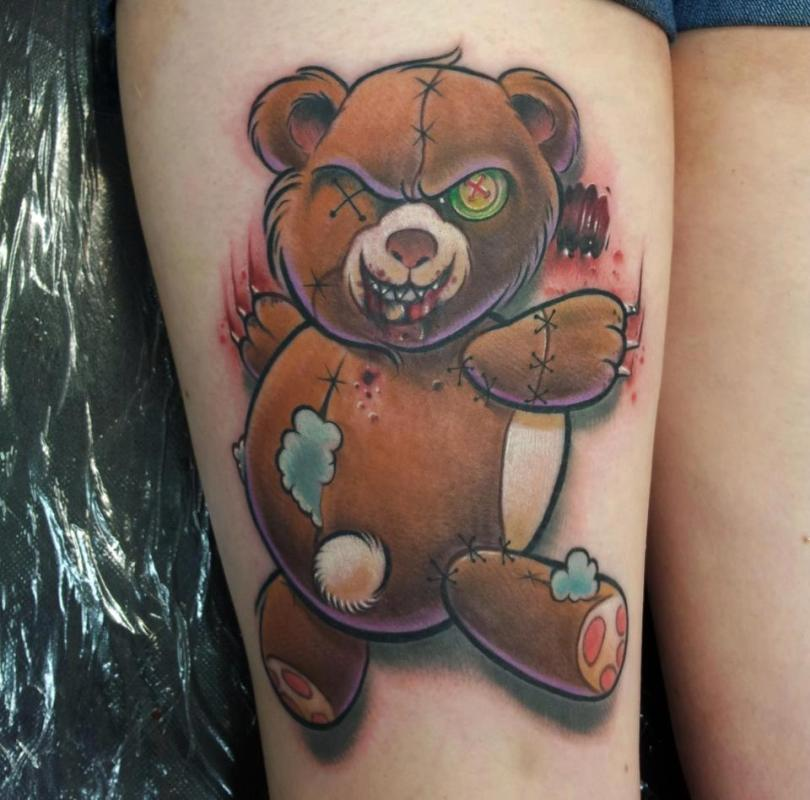 Sweet Funny Pooh Bear Tattoo Design For Girls