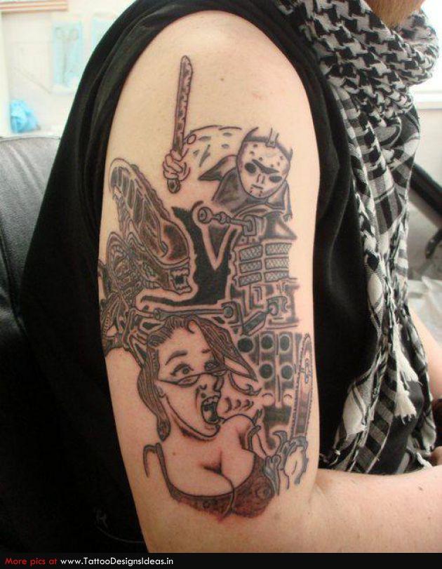 Sweet Half Sleeve Monster Alien Tattoo For Boys