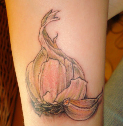 Sweet Halloween Garlic Tattoo Design For Girls