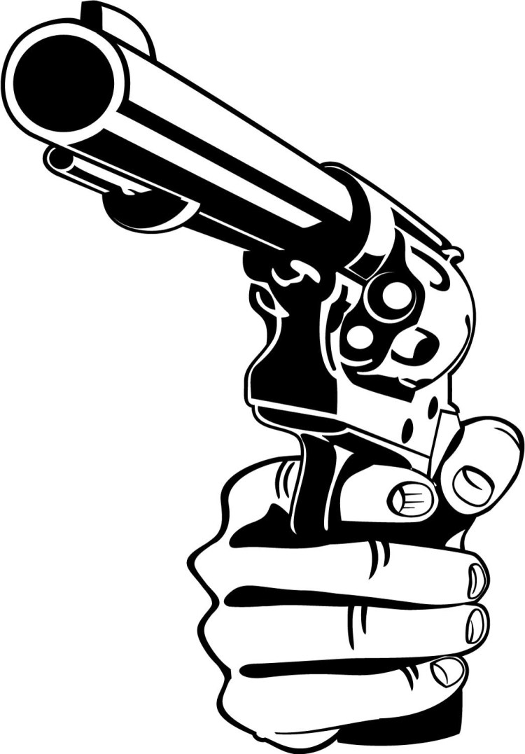 Sweet Hand Held Gun Tattoo Sample For Boys
