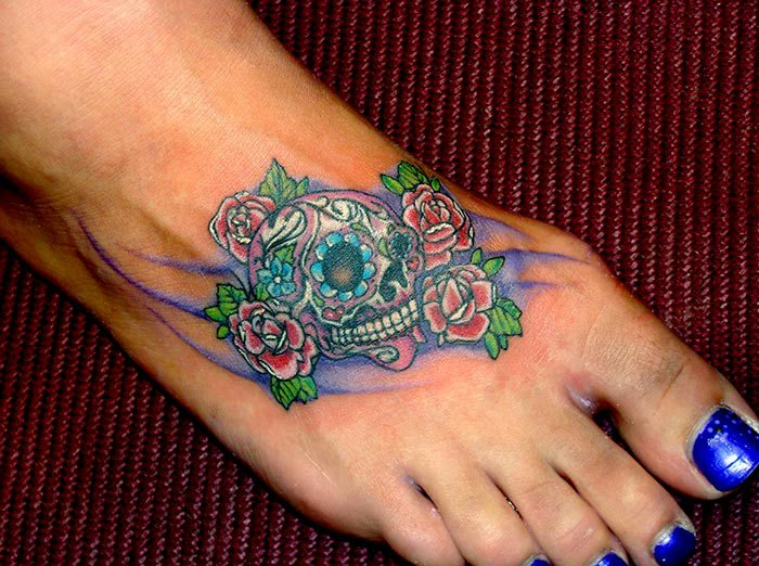 Sweet Skull Foot Tattoo Design For Girls