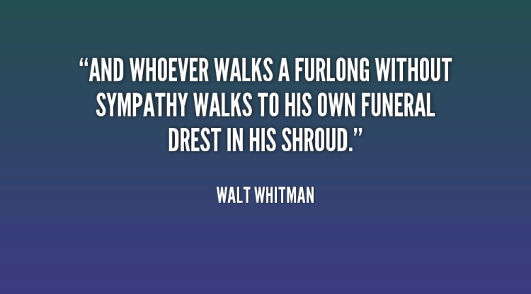 Sympathy Quotes and whoever walks a furlong without sympathy walks to his own funeral Brest in his shroud.