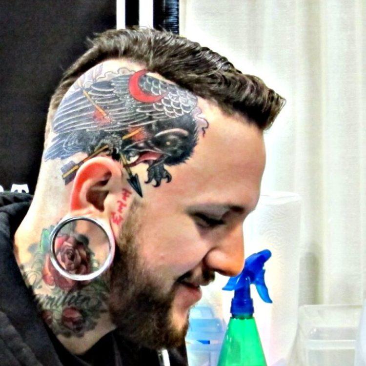 Terrific Eagle Tattoo On Head For Boys