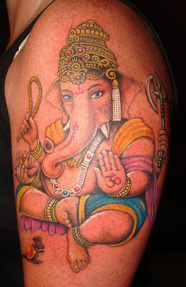 Terrific Ganesha Tattoo On Shoulder For Girls