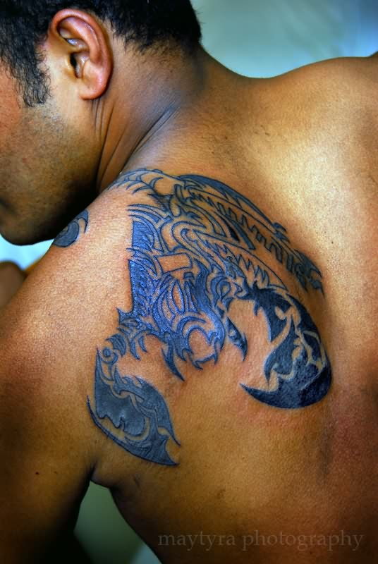 Terrific Homemade Tattoo On Back Shoulder For Boys