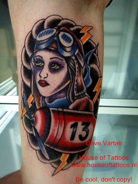 Terrific Pilot Girl Tattoo Design For Boys