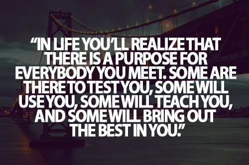 Teen Life Quotes In life you'll realize that there is a purpose for everybody you meet