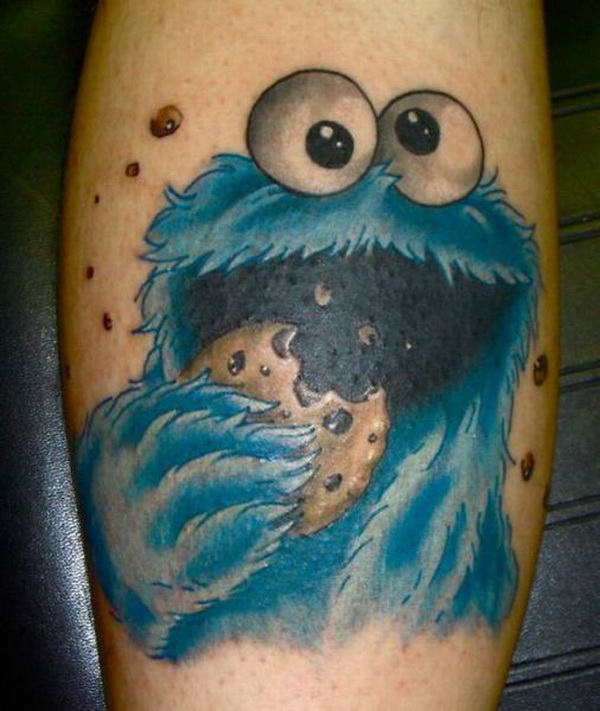 Terrific Funny Cookie Monster Tattoo Design For Boys