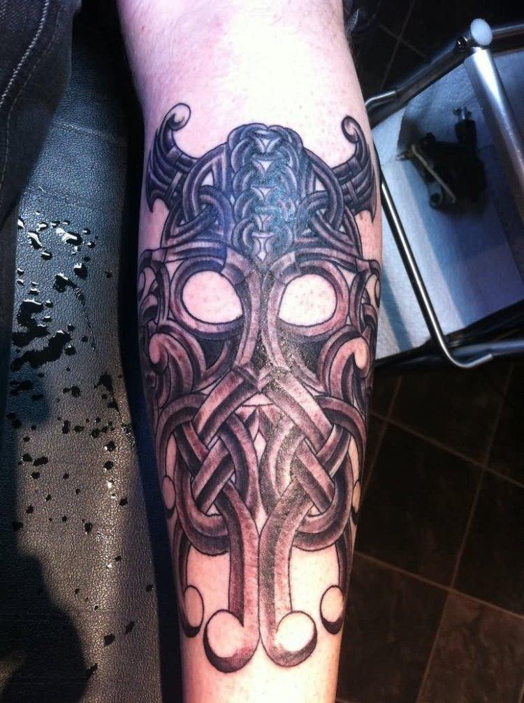 Traditional Celtic Helmet Tattoo On Arm For Boys