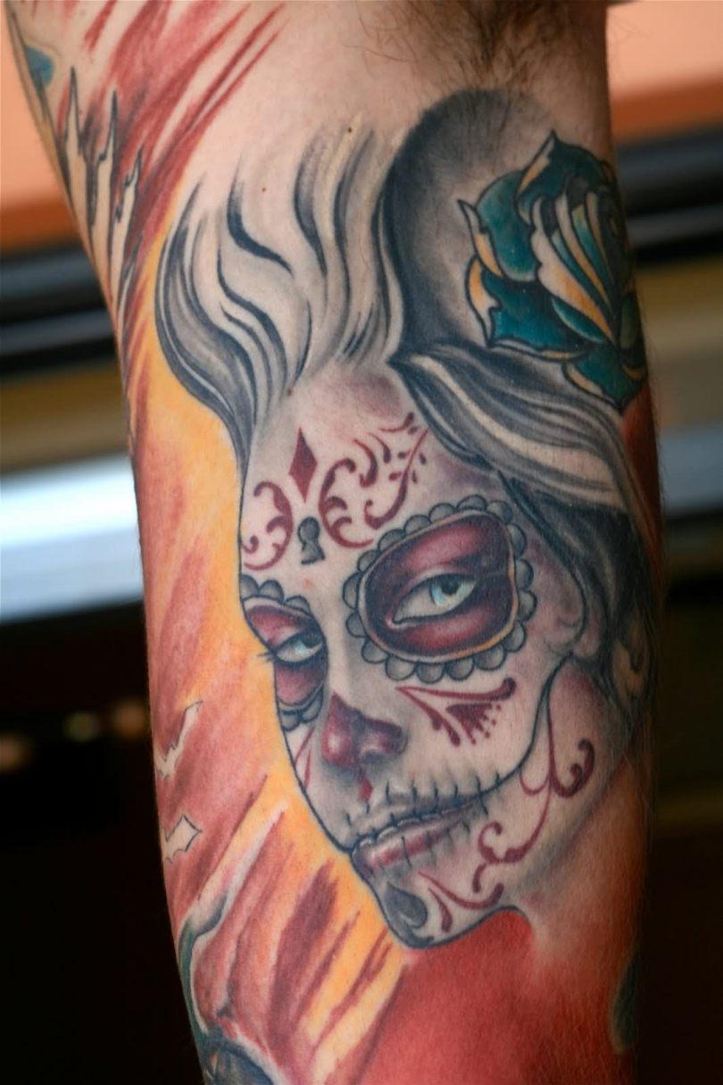 Traditional Dia De Los Muertos Girl Face Tattoo Design For Boys