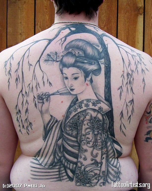Traditional Japanese Geisha Tattoo On Back Body For Boys