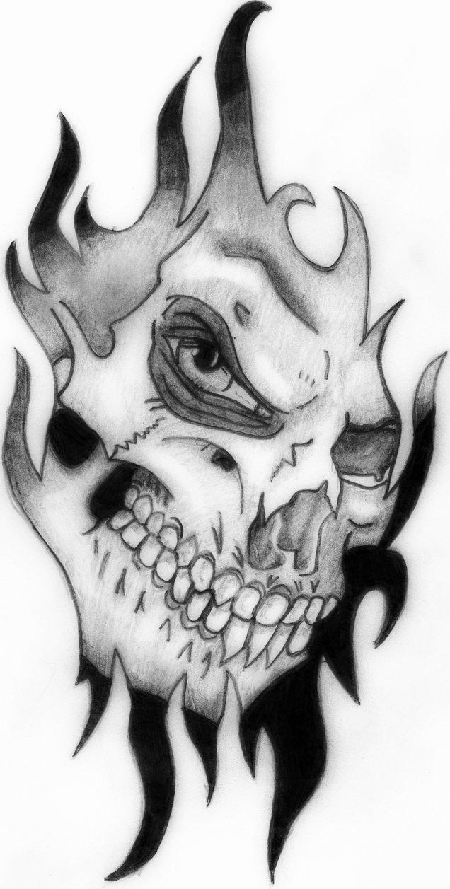 Traditional Trbal Skull Horror Tattoo Sample For Boys