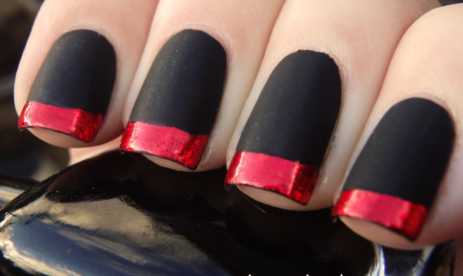 Tremendous Black Matte Nails With Dark Red Tips