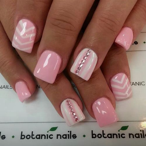 Tremendous Baby Pink With Stones Pink Acrylic Nail Art Design