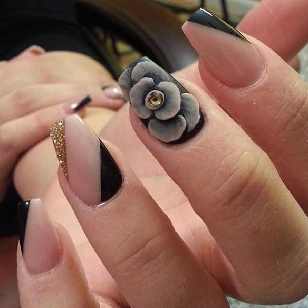 600 In 55 Fabulous Black And Beige Nails Art Designs