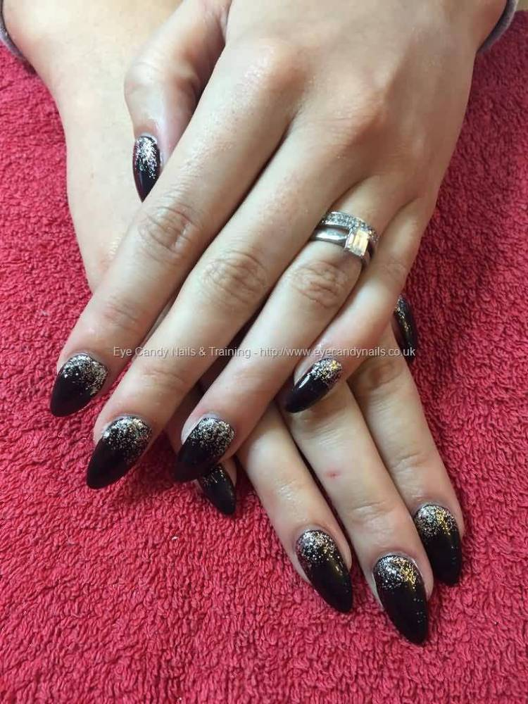 Tremendous Black And Silver Color Almond Shaped Acrylic Nail Art