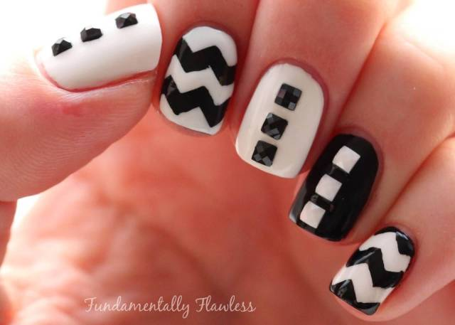 Tremendous Black And White Nails With Crystal