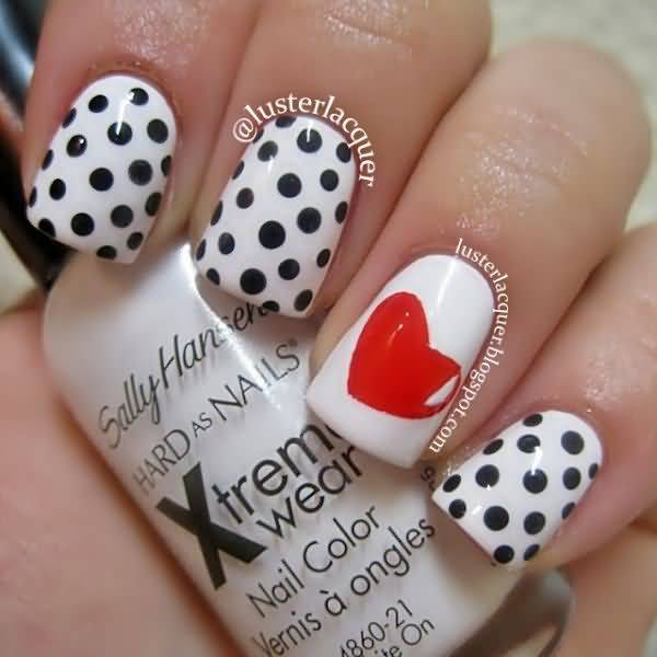 Tremendous Black And White Polka Dot Nail Art With Red Color Heart