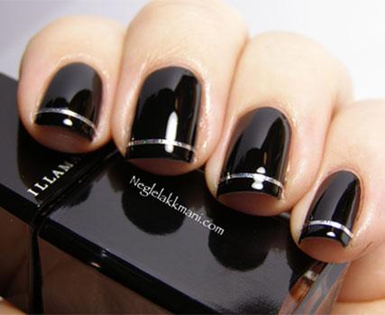 Tremendous Black Nail Art With Silver Color Line